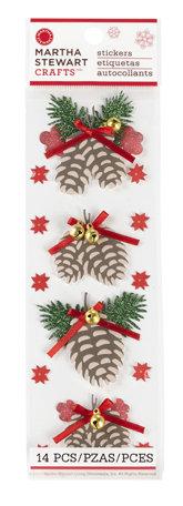 Adesivo Pinha de Natal com Brilho, Strass e Sino  - Minas Midias