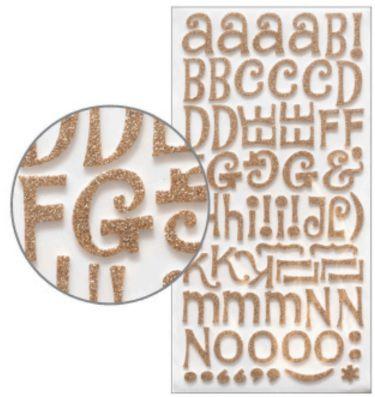 Adesivo Thickers Chipboard Alfabeto Glitter Dourado  - Minas Midias