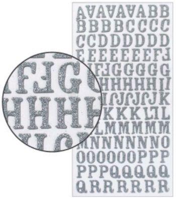 Adesivo Thickers Chipboard Alfabeto Maiúsculo Glitter Prata  - Minas Midias
