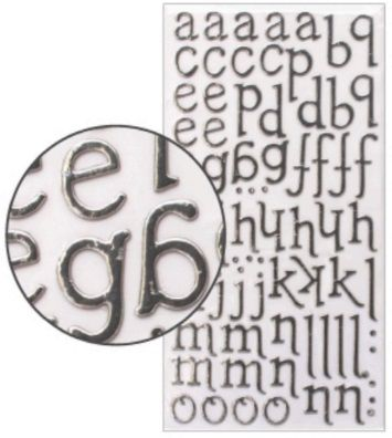 Adesivo Thickers Chipboard Alfabeto Minúsculo Foil Prata  - Minas Midias
