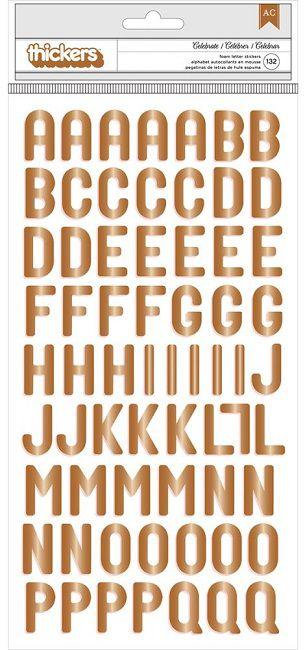 Adesivo Thickers EVA Alfabeto Foil Cobre (Thickers Stickers)  - Minas Midias