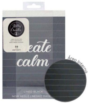 Caderno de Caligrafia Folhas Negras Pautadas Kelly Creates AC  - Minas Midias