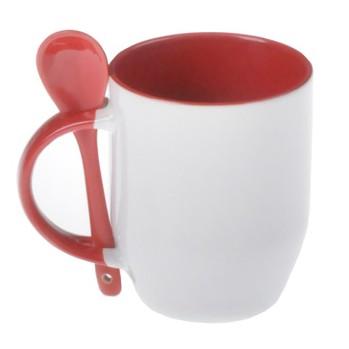 Caneca com Colher Vermelha de Porcelana p/ Sublimação   - Minas Midias