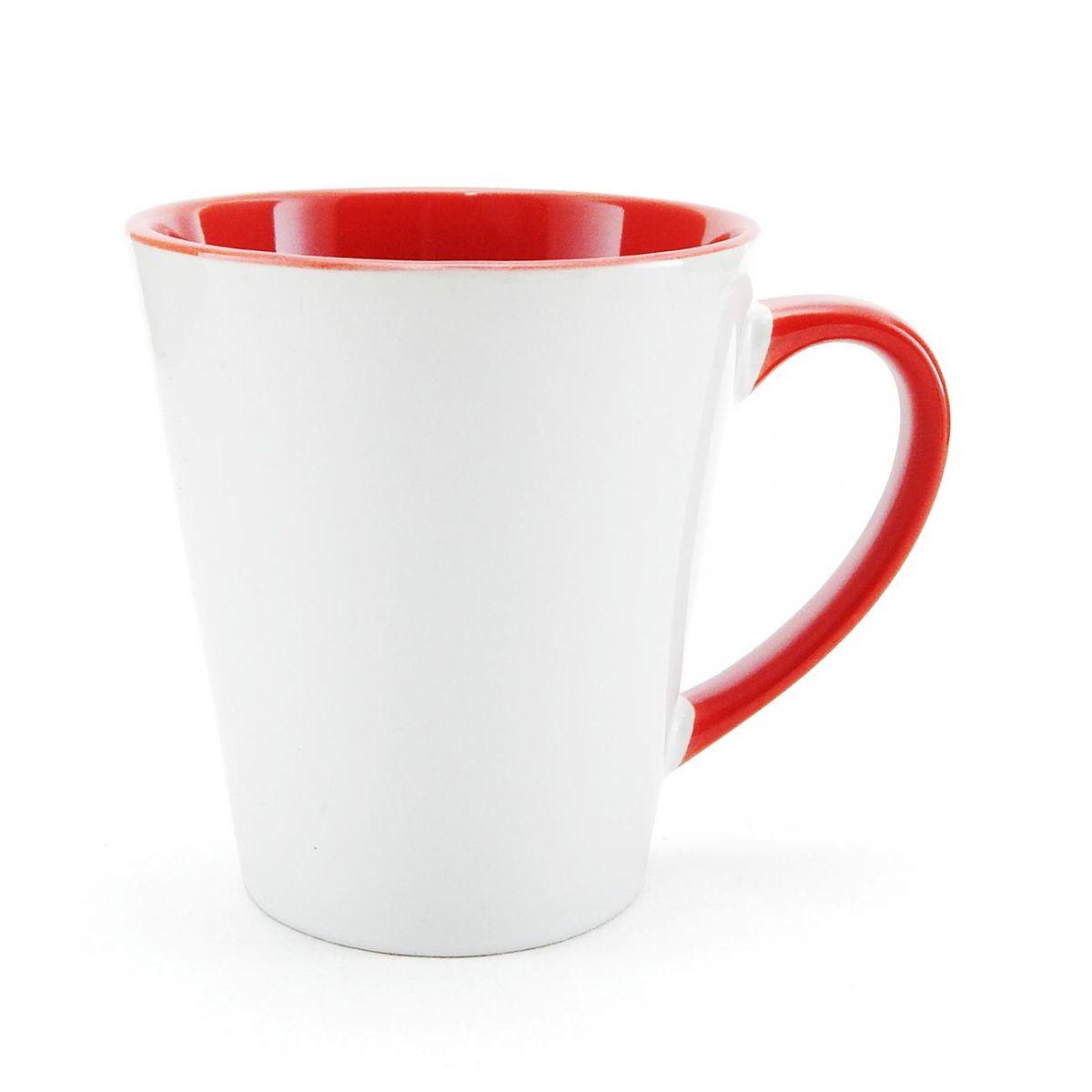 Caneca Cônica Vermelha de Porcelana p/ Sublimação   - Minas Midias