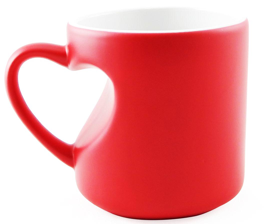 Caneca Mágica Alça de Coração Vermelha de Porcelana p/ Sublimação   - Minas Midias