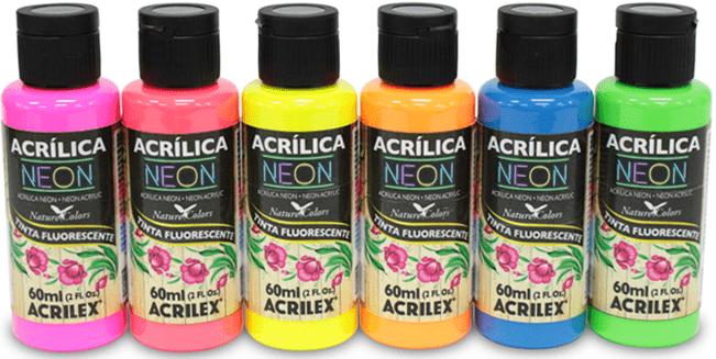 Tinta Acrílica Fosca Neon 60ml Acrilex   - Minas Midias