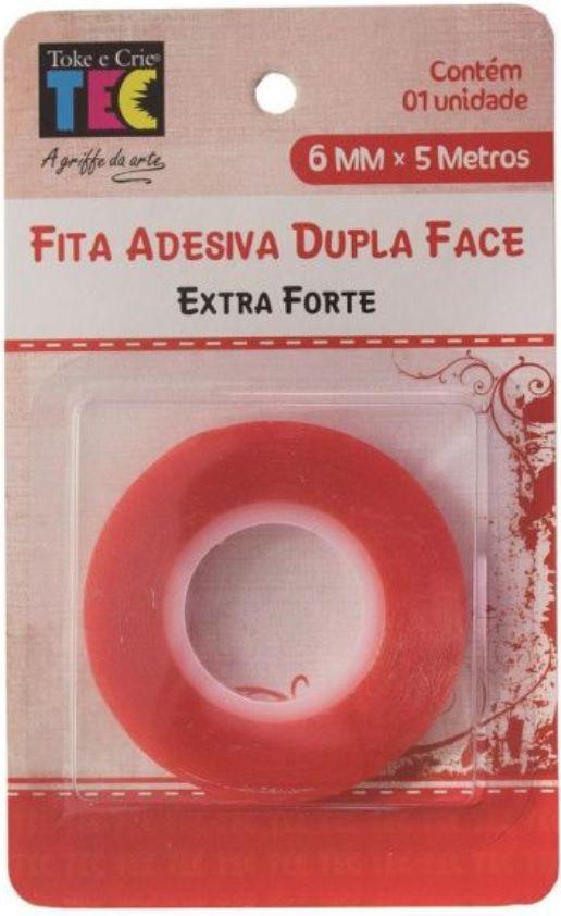 Fita Adesiva Dupla Face Extra Forte 6mm x 5 metros TEC  - Minas Midias