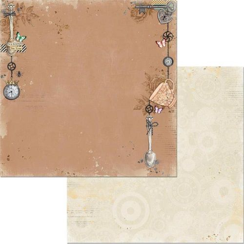 Folha p/ Scrap Dupla Face Land of Wonder Relógios - Bo Bunny  - Minas Midias