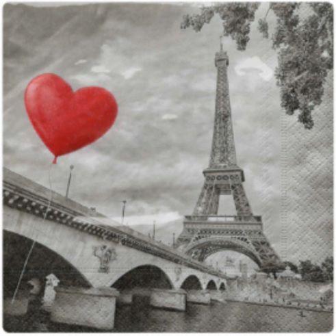 Guardanapo para Decoupage - Amor em Paris  - Minas Midias