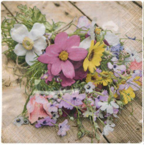 Guardanapo para Decoupage - Flores Campestres  - Minas Midias