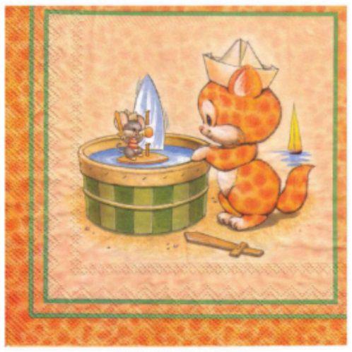 Guardanapo para Decoupage - Gato e Rato  - Minas Midias