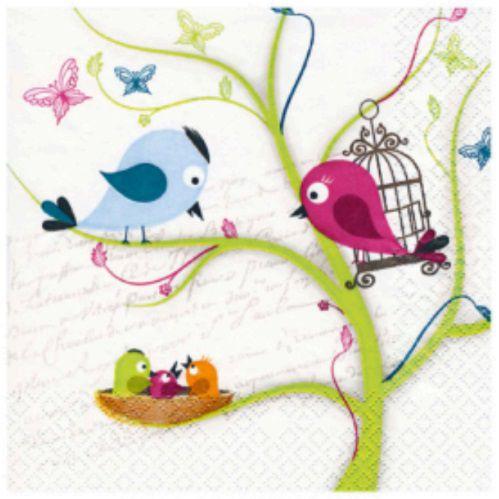 Guardanapo para Decoupage - Pássaros com Filhotes  - Minas Midias