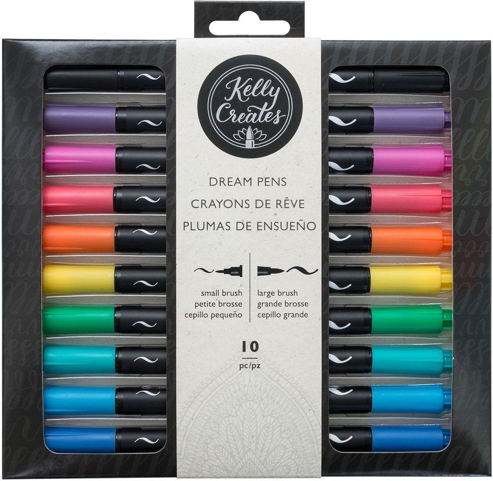 Kit de Canetas Duas Pontas para Caligrafia e Artesanato c/10 un Kelly Creates AC  - Minas Midias