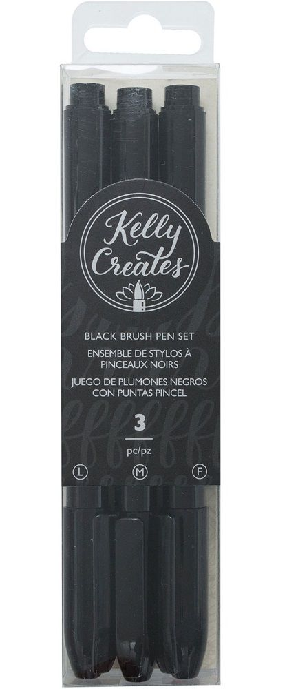 Kit de Canetas Pincel Pretas para Caligrafia e Artesanato Kelly Creates AC  - Minas Midias