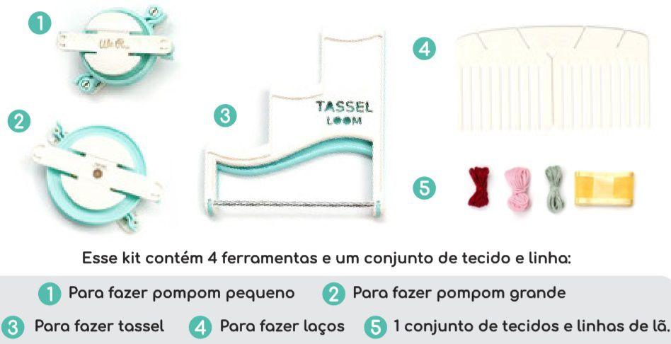 Kit de Ferramentas para Tassel, Pompom e Laços  - Minas Midias