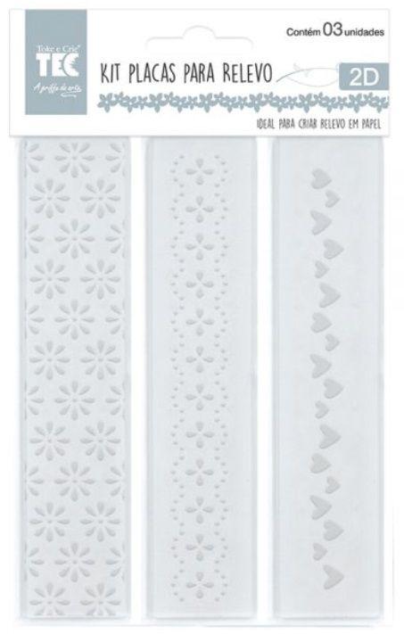 Kit de Placas para Relevo 2D Corações e Flores 32 x 146 mm c/ 3 un  - Minas Midias