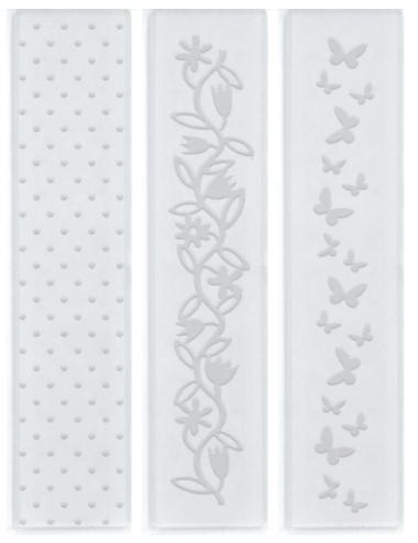 Kit de Placas para Relevo 2D Poá , Borboletas e Flores 32 x 146 mm c/ 3 un  - Minas Midias