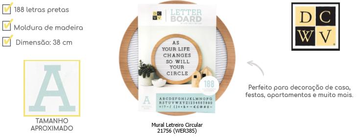 Mural Letreiro Circular - Roundwood Letterboard  - Minas Midias