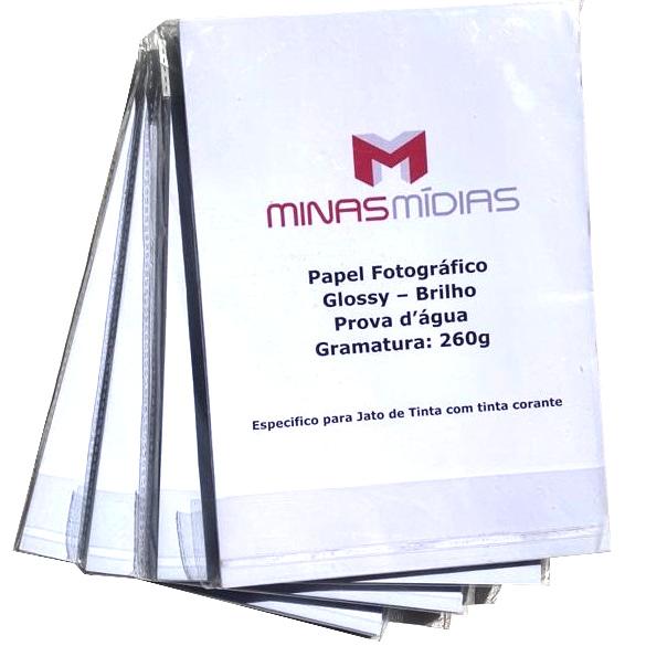 Papel Fotográfico A4 Glossy 260g  - Minas Midias