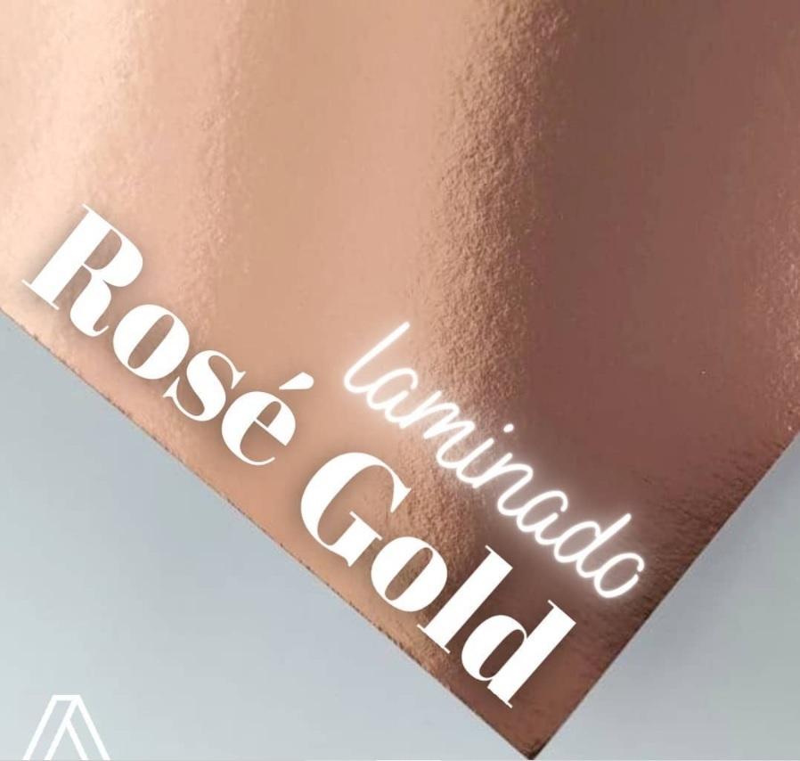 Papel Laminado Rose Gold 180g A4  - Minas Midias