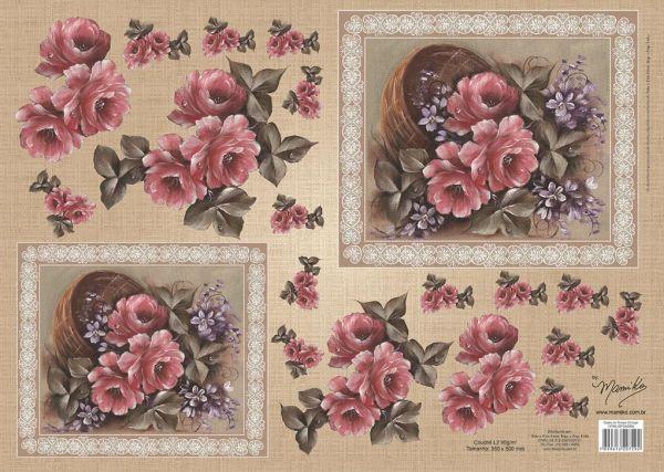 Papel para Decoupage 3D - Cesto de Rosas Vintage by Mamiko  - Minas Midias