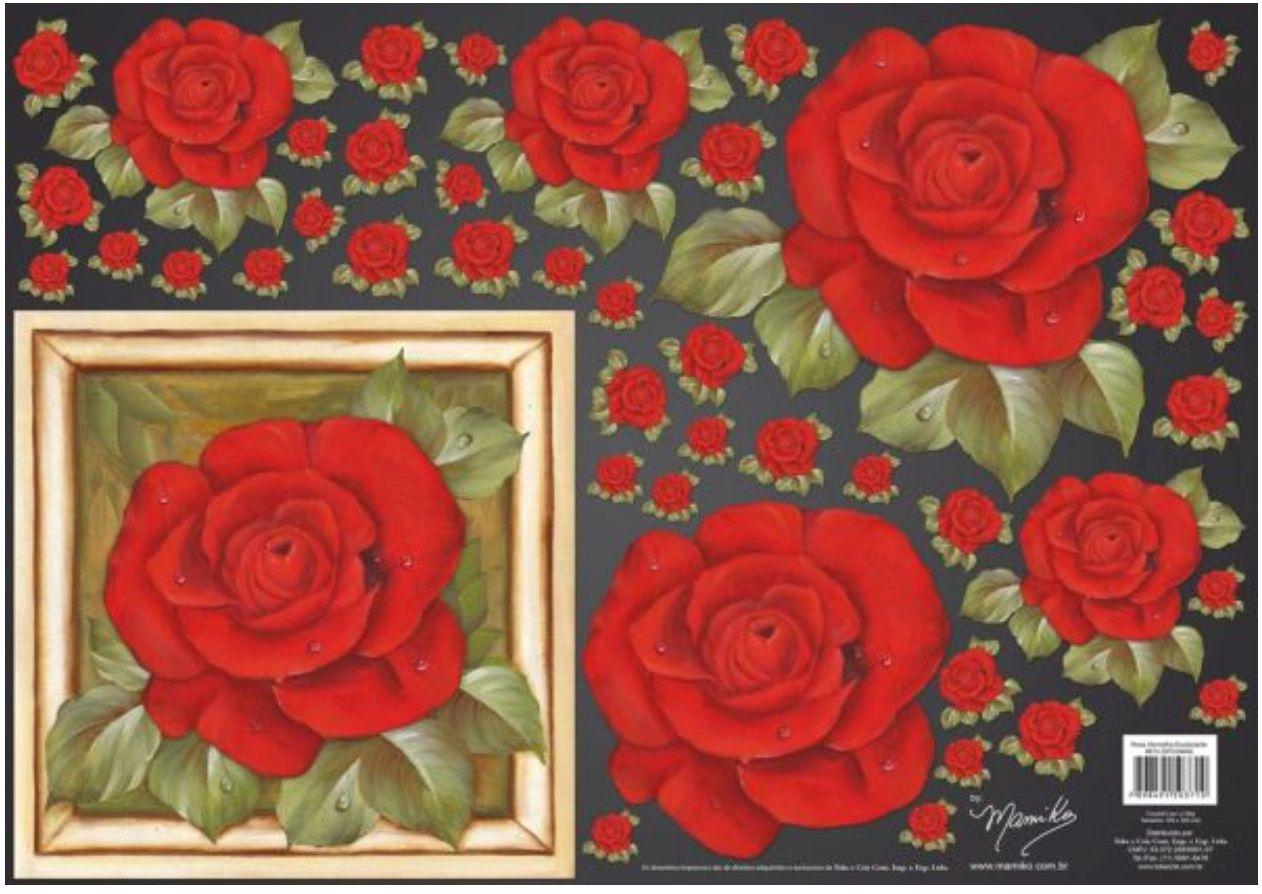 Papel para Decoupage 3D - Rosa Vermelha Exuberante by Mamiko  - Minas Midias