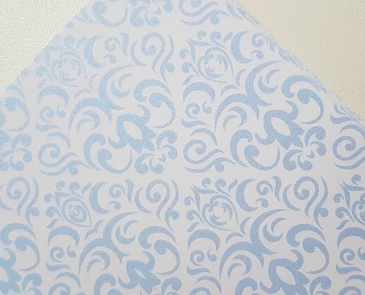 Papel Perolizado Arabesco Azul 180g A4  - Minas Midias