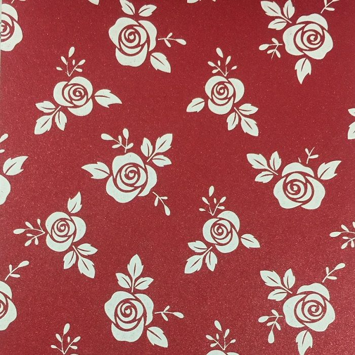 Papel Relux Decorado Rosas Rubi 180g 30,5 x30,5cm  - Minas Midias