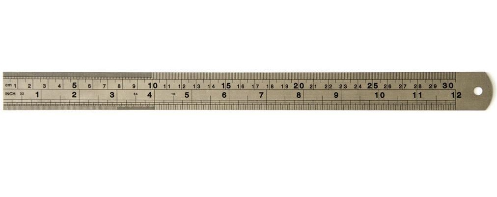 Régua de Metal - aço inoxidável - 30cm  - Minas Midias