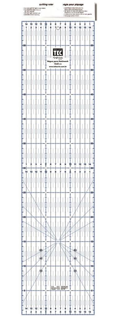 Régua para Patchwork 15 X 60cm  - Minas Midias