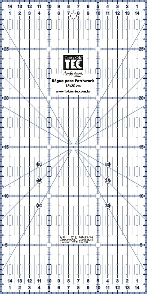 Régua para Patchwork 15 X 30cm  - Minas Midias