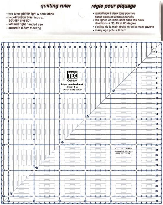 Régua para Patchwork Quadrada - 31,5 X 31,5cm  - Minas Midias