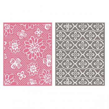 Placa de Textura - LC Embossing Folder Flower Pat  - Minas Midias