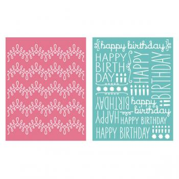 Placa de Textura - LC Embossing Folder Happy Birthday  - Minas Midias