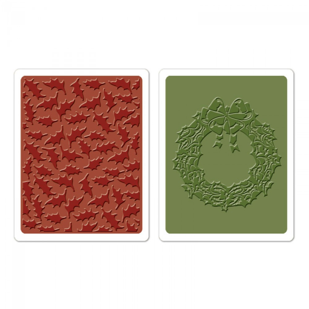 Placa de Textura - Embossing Folder - Holly Pattern & Wreath  - Minas Midias