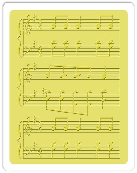 Placa de Textura - Embossing Folder - Notas Musicais  - Minas Midias