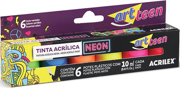 Tinta Acrílica Neon Artteen Acrilex   - Minas Midias