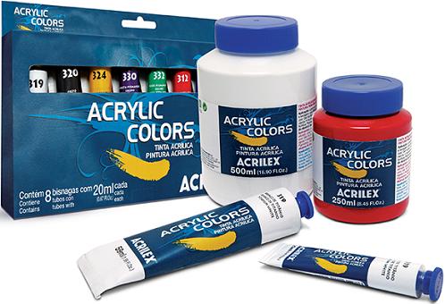 Tinta Acrylic Colors Acrilex 20ml - Cores Metálicas  - Minas Midias