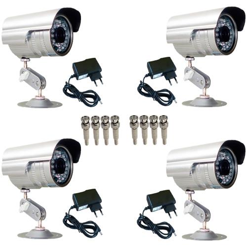 Kit 4 Câmeras de segurança Infravermelho 30 mts 1000 linhas + 4 Fontes + 08 Conectores Bnc  - Tudoseg Cftv - Sistemas de Segurança Eletrônica