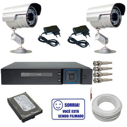 Kit 2 Câmeras de Segurança Infravermelho + Dvr 4 canais + HD + Cabo + Acessórios  - Tudoseg Cftv - Sistemas de Segurança Eletrônica