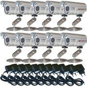 Kit 10 Câmeras de segurança infravermelho 30 mts 1.000 linhas + 10 fontes de alimentação