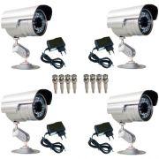 Kit 4 Câmeras de segurança Infravermelho 30 mts 1000 linhas + 4 Fontes + 08 Conectores Bnc