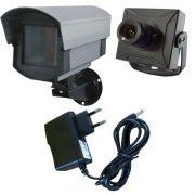 Kit Micro Câmera de Segurança + Caixa de Proteção + Fonte de Alimentação