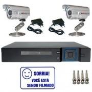 Kit Dvr Stand Alone Multi HD 4 canais + 2 Câmeras Infravermelho + 2 fontes + 4 Conectores