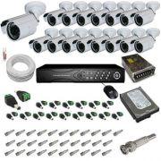 Kit 16 câmeras infravermelho 30 mts 1.000 linhas com gravador Dvr Stand Alone- Acesso pela Internet