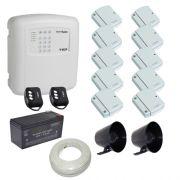 Kit alarme residencial / comercial 10 sensores de abertura sem fio com discadora telefônica- ECP