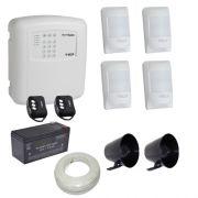 Kit alarme residencial / comercial completo 4 sensores sem fio e discadora telefônica- ECP