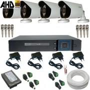 Sistema de Monitoramento com 4 Câmeras AHD 1.0 Megapixel Gravador Dvr Multi HD 5 em 1