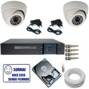 Kit Completo 02 Câmeras Dome 1000 linhas Dvr Multi HD 4 Canais HD 250Gb Acessórios