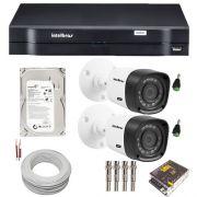 Kit 02 Câmeras Segurança Intelbras Multi HD 720P Dvr 4 Canais HD 500GB Acessórios